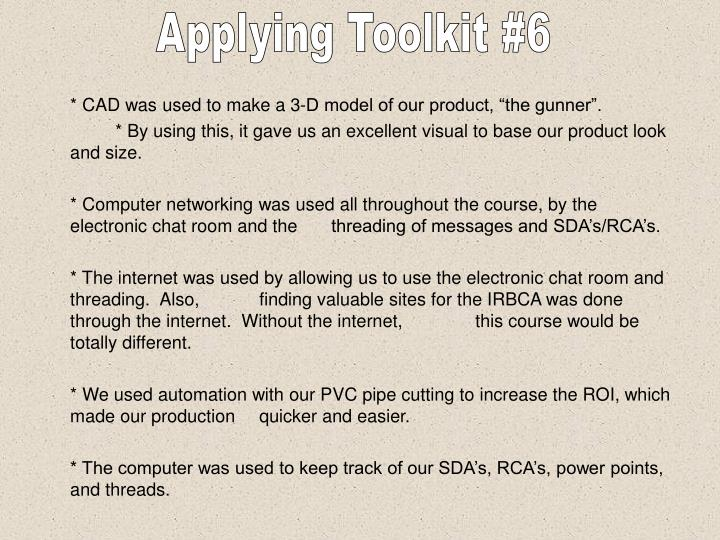 Applying Toolkit #6