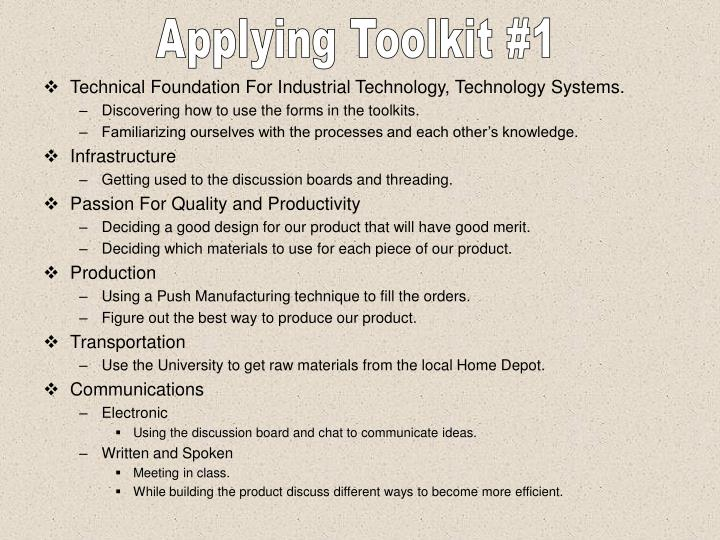 Applying Toolkit #1