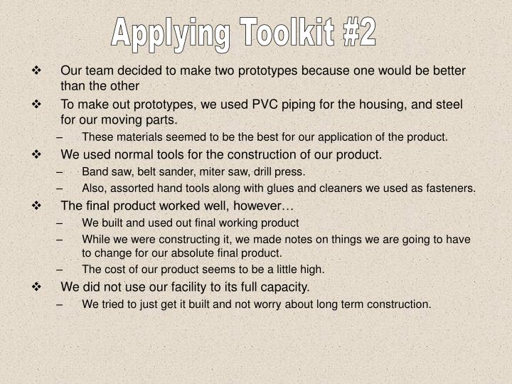 Applying Toolkit #2