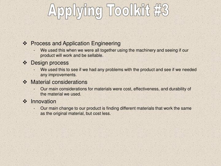 Applying Toolkit #3