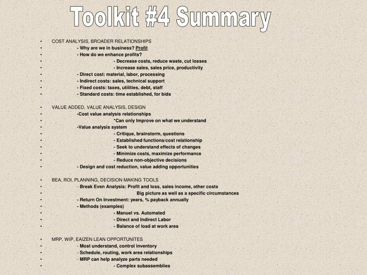 Toolkit #4 Summary