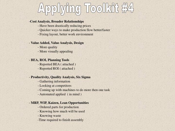 Applying Toolkit #4