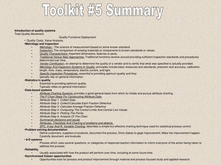 Toolkit #5 Summary
