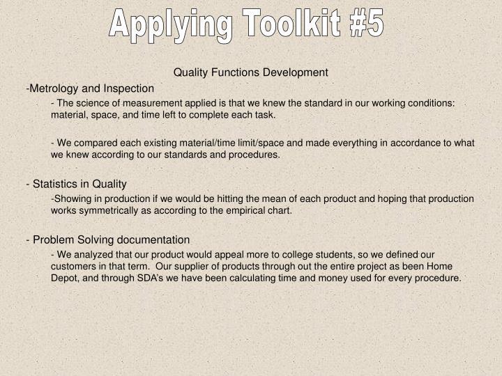 Applying Toolkit #5