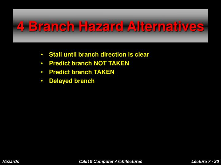 4 Branch Hazard Alternatives