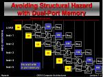 avoiding structural hazard with dual port memory