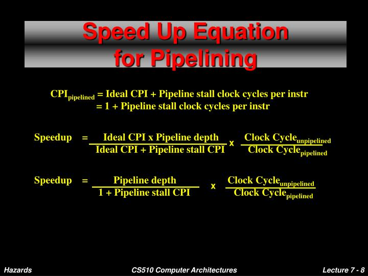 Speedup    =      Ideal CPI x Pipeline depth          Clock Cycle