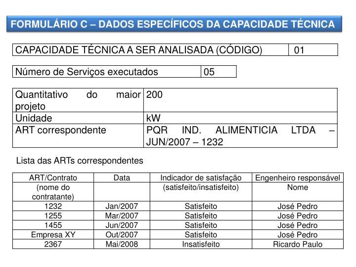 FORMULÁRIO C – DADOS ESPECÍFICOS DA CAPACIDADE TÉCNICA