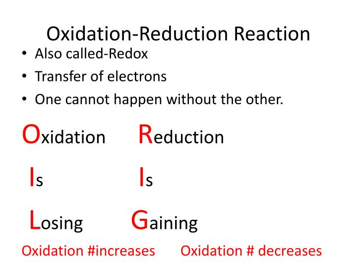 oxidation reduction reaction Reduction is any process which reduces the oxidation state of an atom due to the gain of elec trons the actual species involved in these reactions are the oxidizing agents and the reducing agents by taking on electrons the oxidizing agent causes something else to be oxidized (lose electrons.