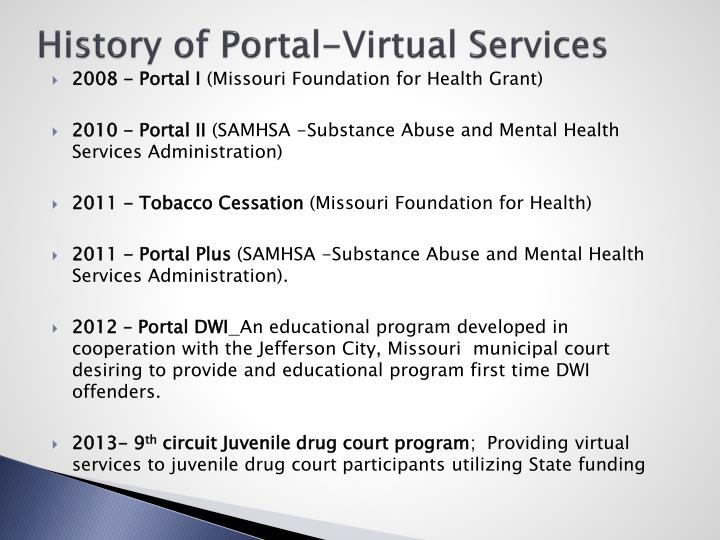History of Portal-Virtual Services