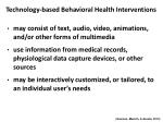 technology based behavioral health interventions