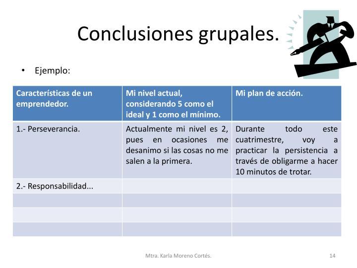 Conclusiones grupales.