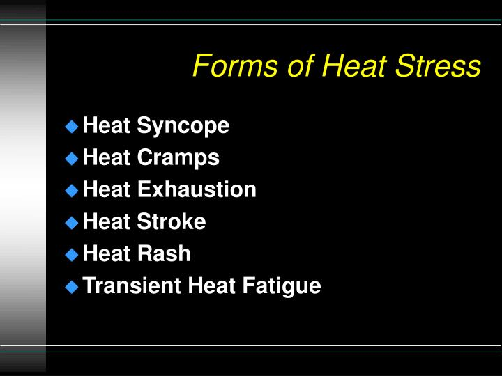 Forms of Heat Stress