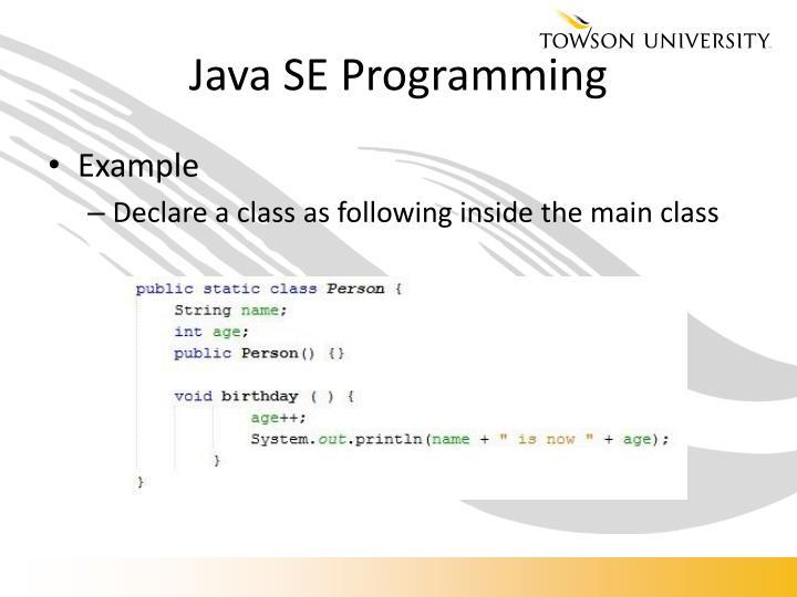Java SE Programming