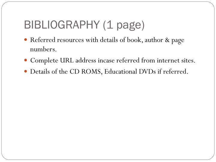 BIBLIOGRAPHY (1 page)