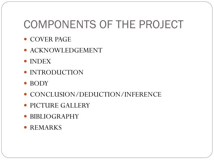 Components of the project