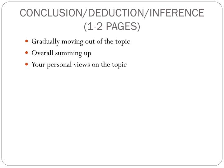 CONCLUSION/DEDUCTION/INFERENCE
