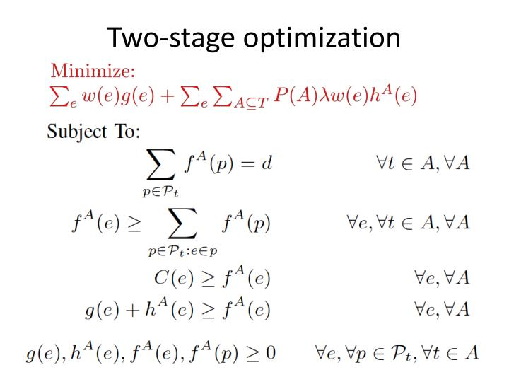 Two-stage optimization