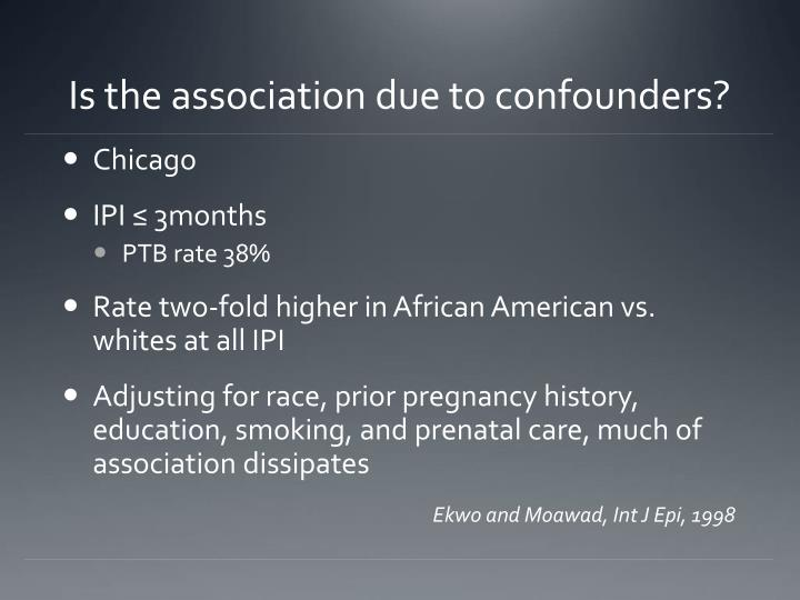 Is the association due to confounders?