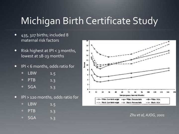 Michigan Birth Certificate Study