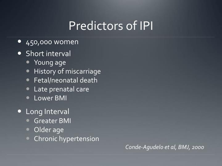 Predictors of IPI