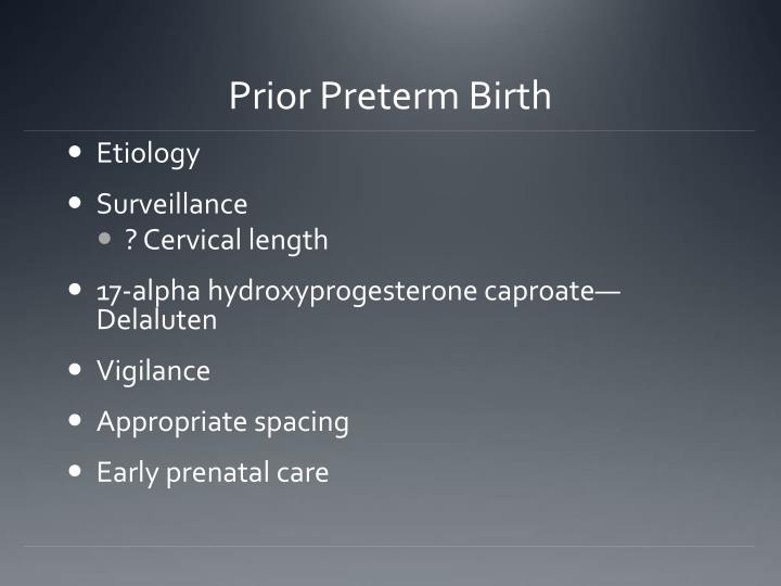 Prior Preterm Birth