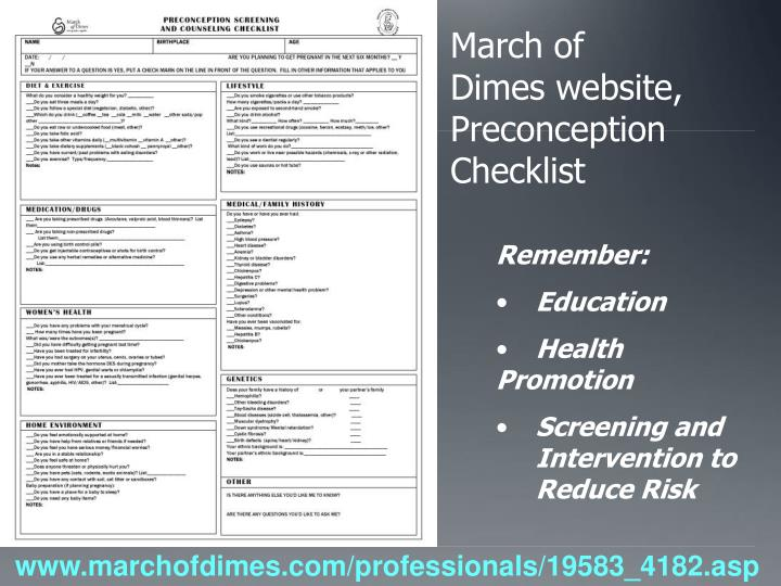 March of Dimes website, Preconception Checklist
