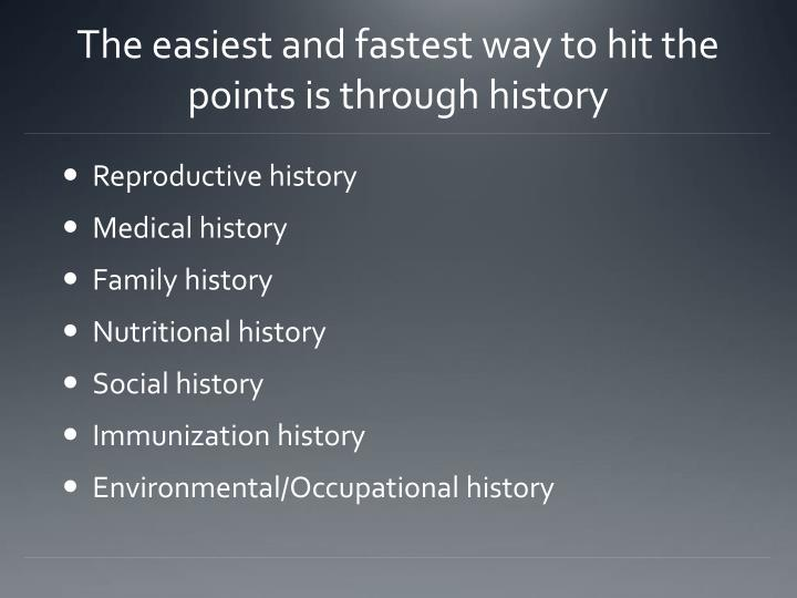 The easiest and fastest way to hit the points is through history