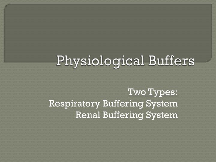 Physiological Buffers