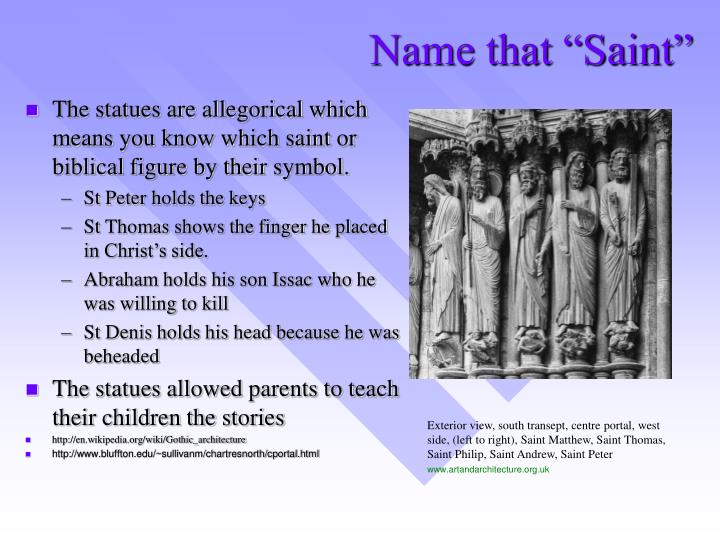 "Name that ""Saint"""