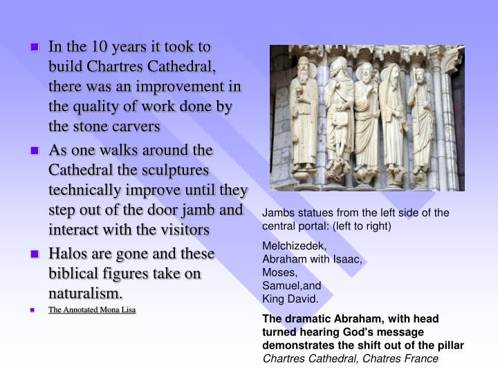 In the 10 years it took to build Chartres Cathedral, there was an improvement in the quality of work done by the stone carvers