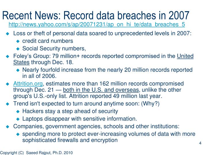 Recent News: Record data breaches in 2007