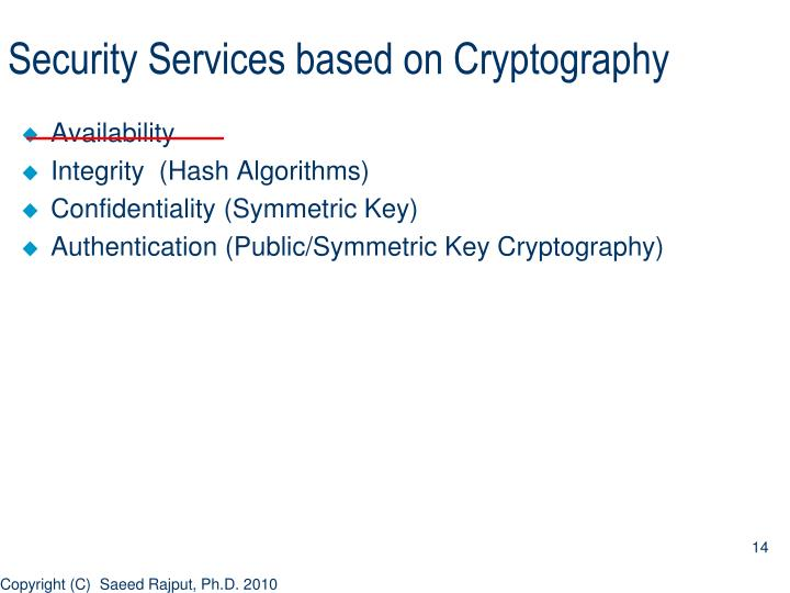 Security Services based on Cryptography