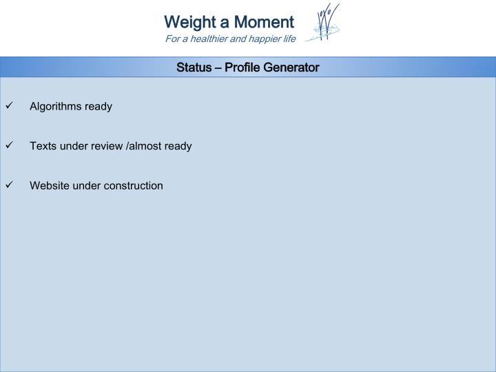 Status – Profile Generator