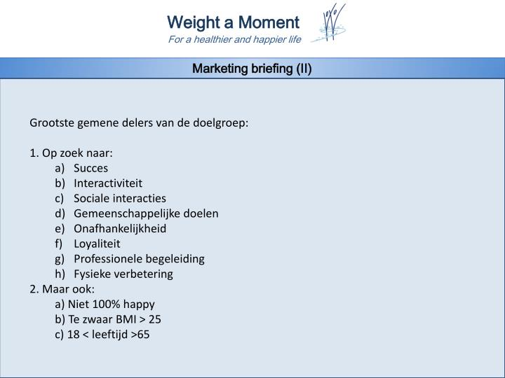 Marketing briefing (II)