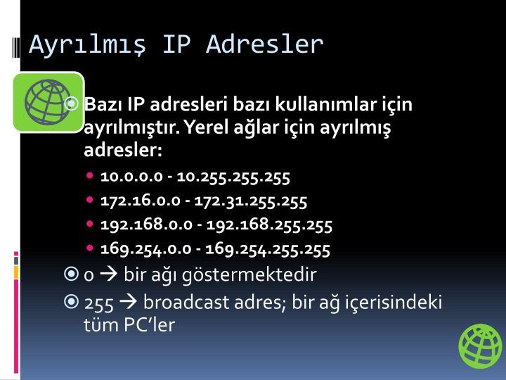 Ayrılmış IP Adresler