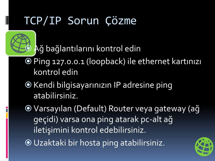 TCP/IP Sorun Çözme