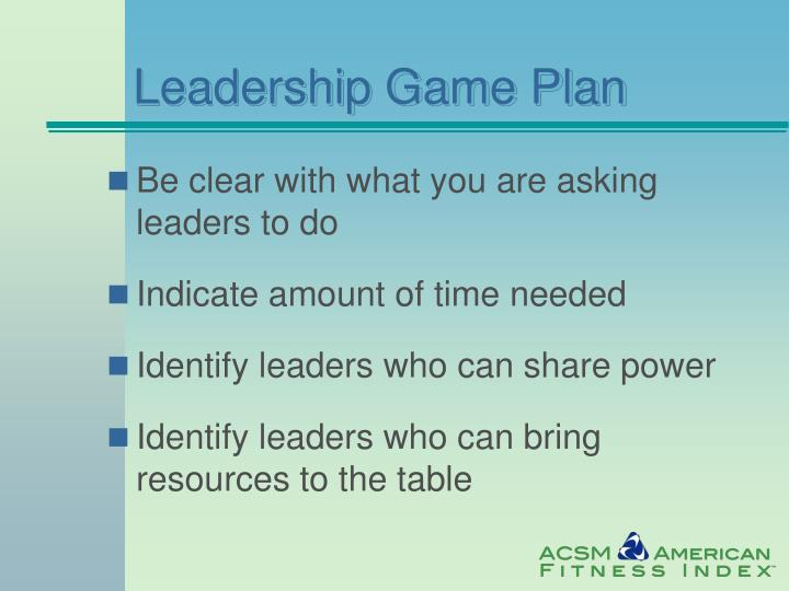 Leadership Game Plan