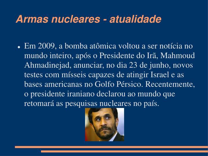 Armas nucleares - atualidade