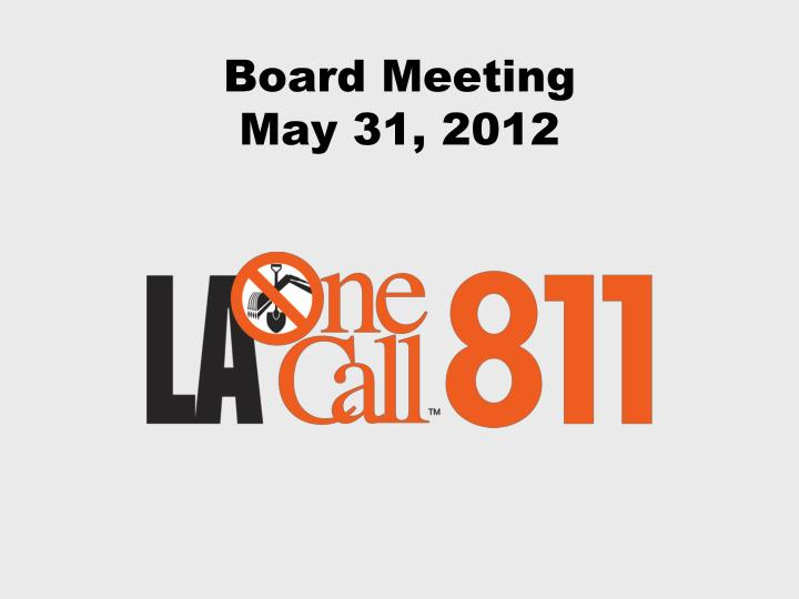 board meeting may 31 2012