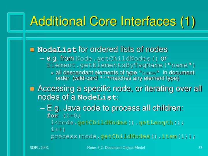 Additional Core Interfaces (1)