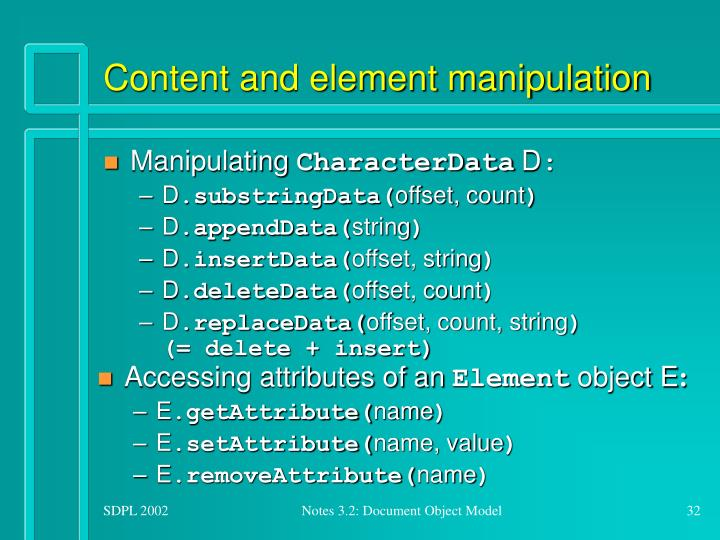 Content and element manipulation