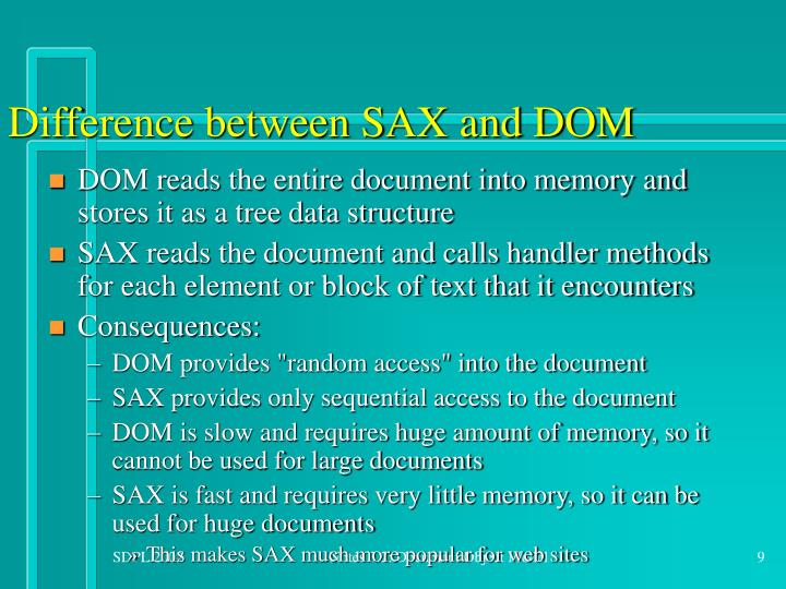 Difference between SAX and DOM