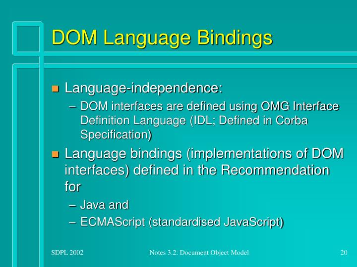 DOM Language Bindings