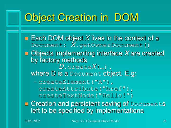 Object Creation in  DOM