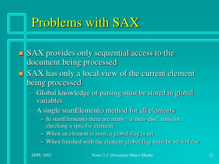 Problems with SAX