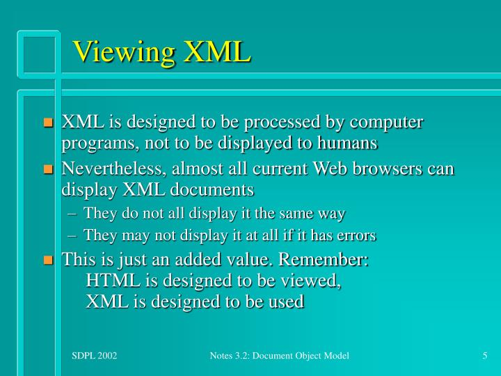 Viewing XML