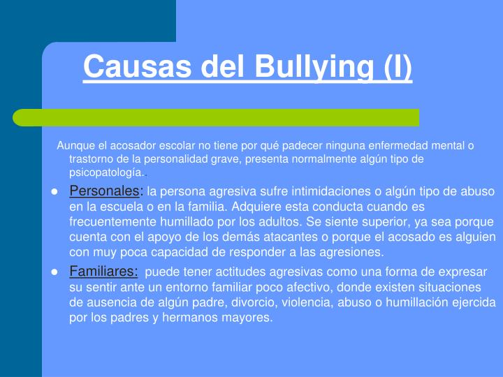Causas del Bullying (I)