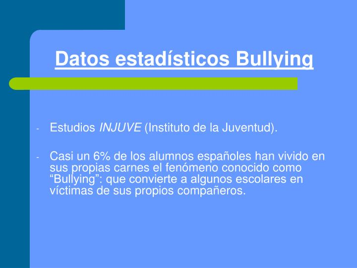 Datos estadísticos Bullying
