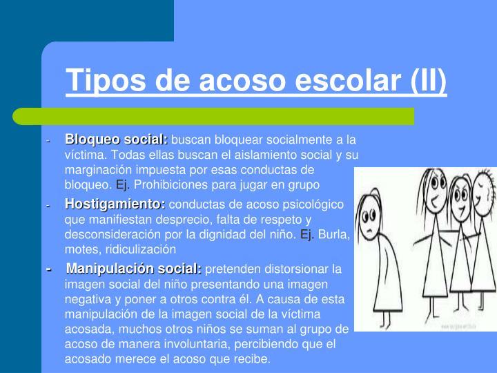 Tipos de acoso escolar (II)